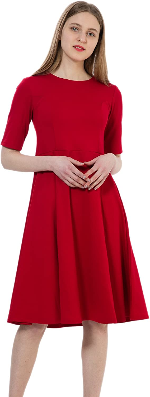 Dantiya Women's Half Sleeve Elegant Back Zipper ALine Knee Long Dress, Black
