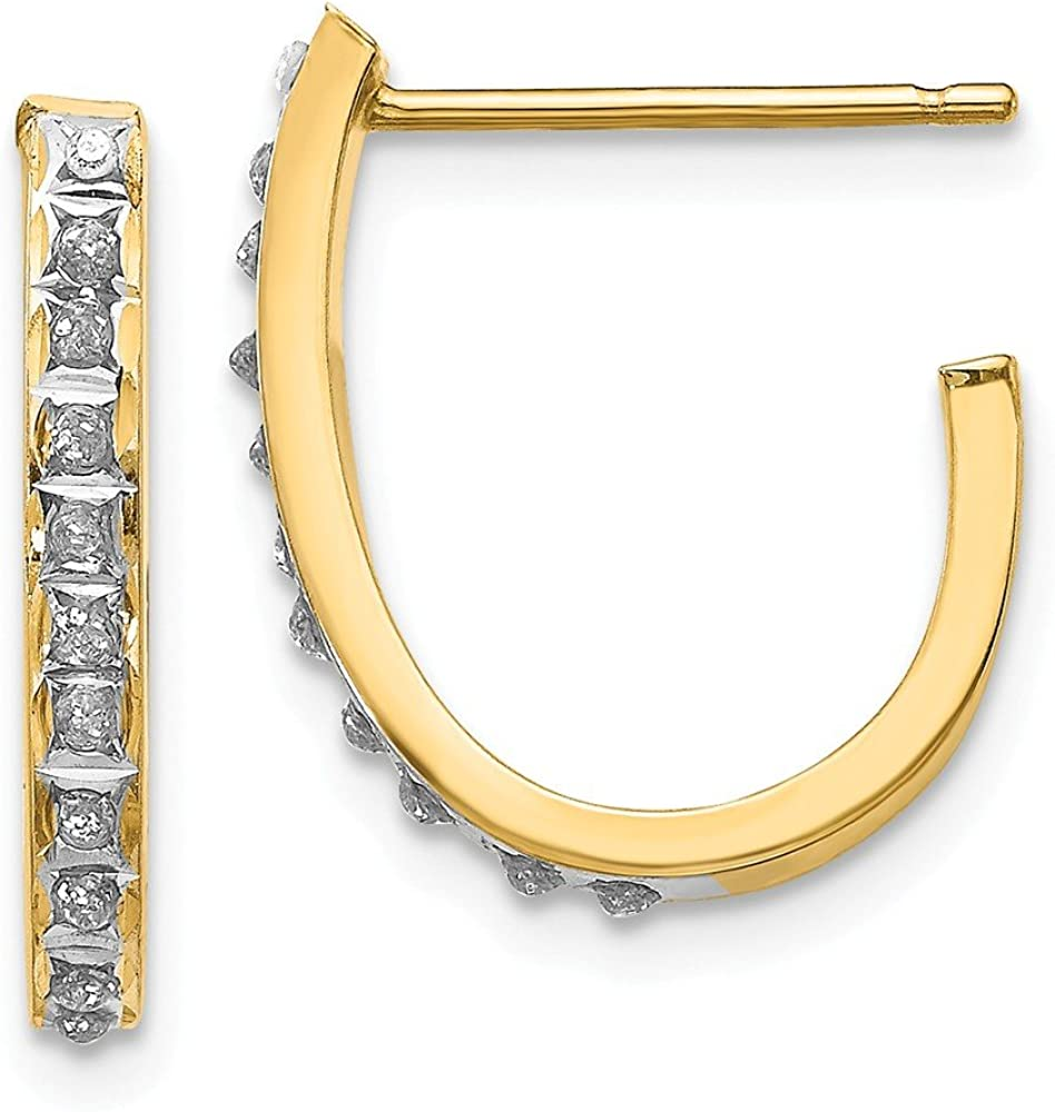 Solid 14k Yellow Manufacturer direct delivery Gold Diamond Post Earrings Hoop Beauty products Fascination J