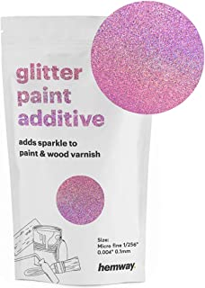 Hemway MICROFINE Glitter Paint Additive Emulsion Water Based Paints 100g (Pink Holographic)