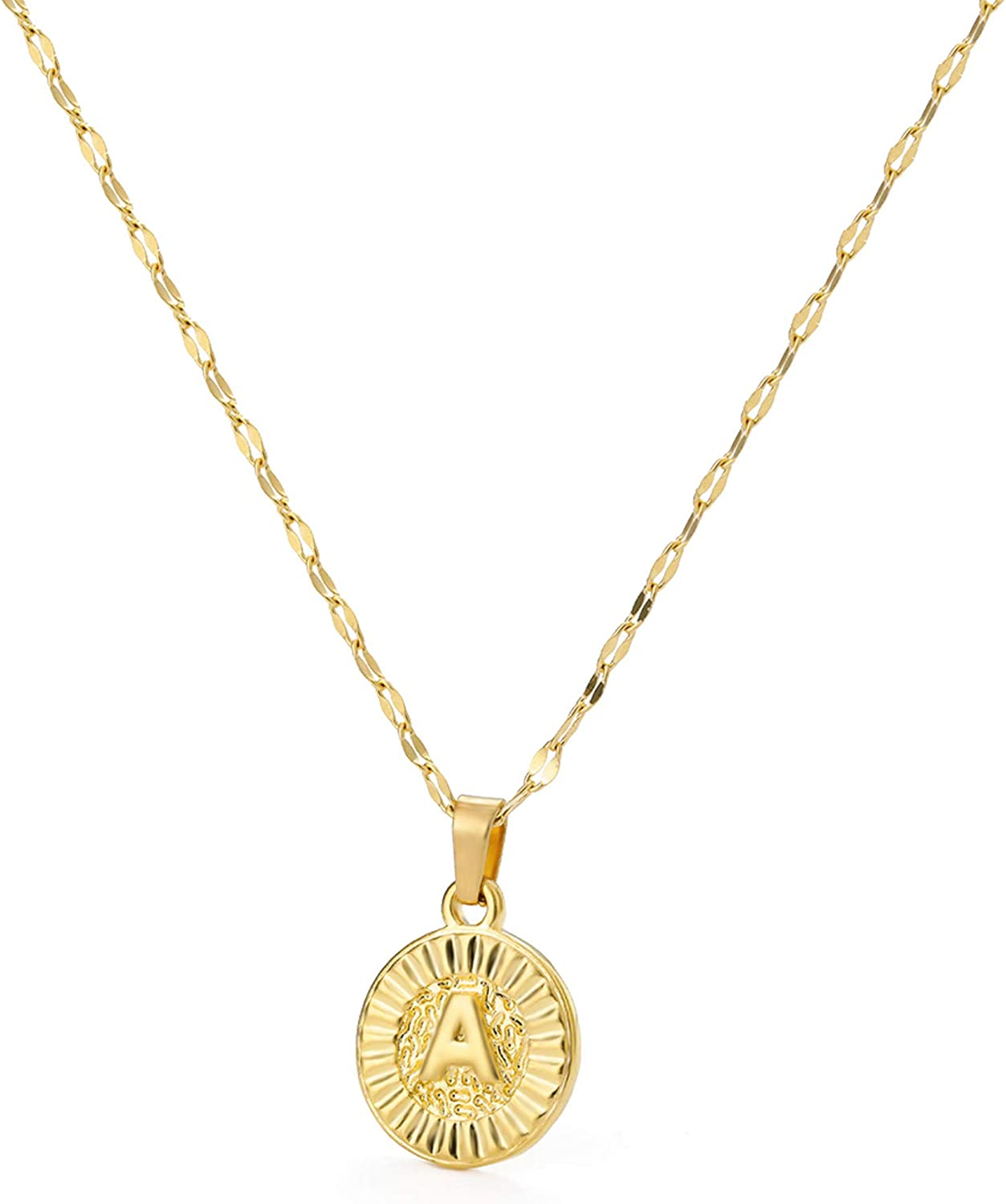 Sewyer Surprise Shipping included price Gold Initial Necklace-14K Disc Pendant Capita Filled