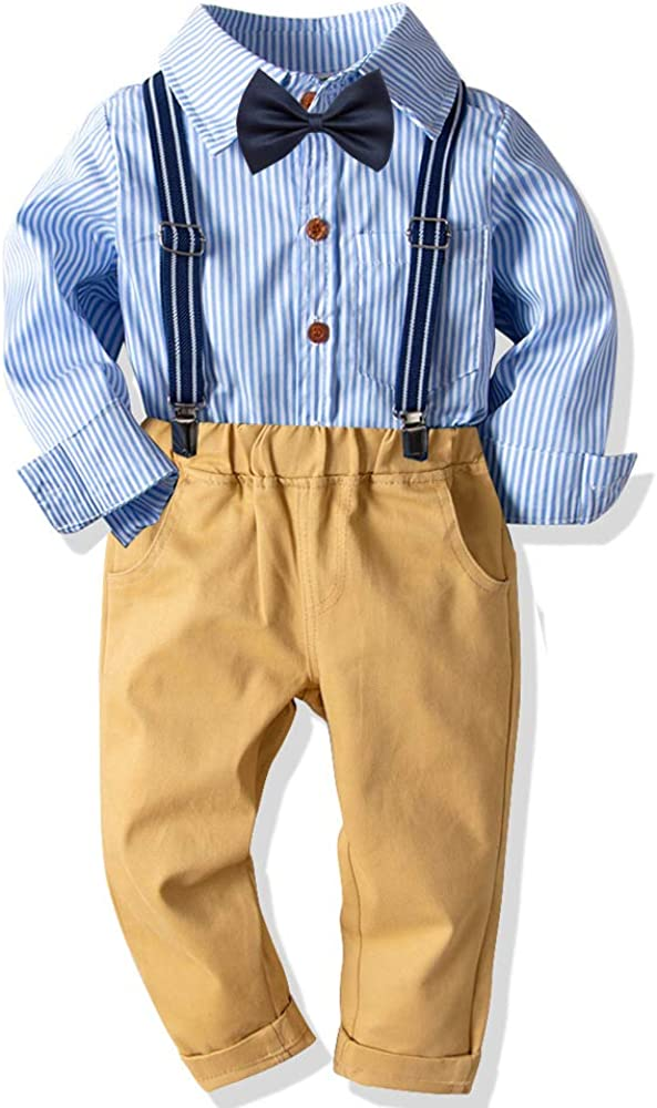 Baby Boys Formal Set Little Boys Gentleman Outfit Suits Long Sleeves Stripe Shirt+Suspender+Pants+Bow Tie 4pcs 1-7T