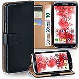 Samsung Galaxy S3 Hülle Schwarz mit Kartenfach [OneFlow Wallet Cover] Handytasche Flip-Case Handyhülle Etui Kunst-Leder Tasche für Samsung Galaxy S3