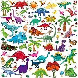 3. Lemostaar Assorted Dino Wall Decals Stickers (77 pieces)