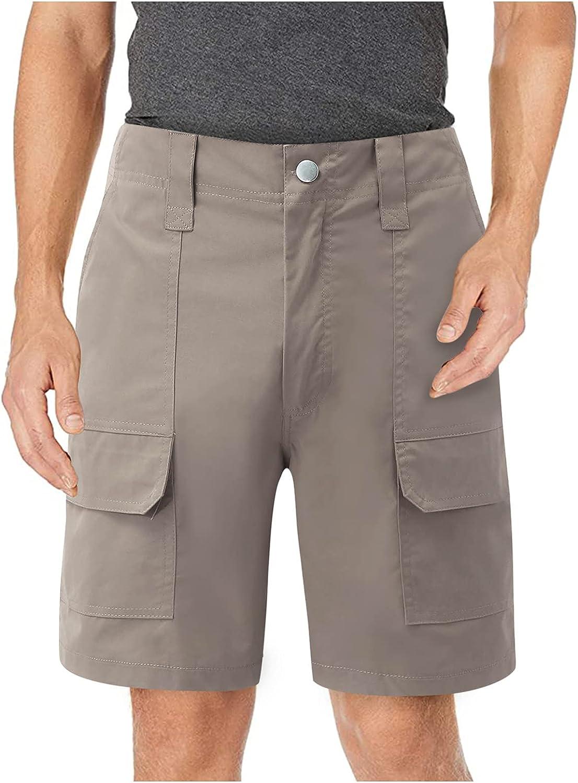 Burband Mens Workout Hiker Shorts Chino Straight Fit Flat Front Cargo Shorts Casual Jogger Athletic Walk Boardshorts