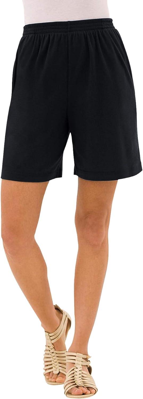 Roamans Women's Plus Size Soft Knit Short Pull On Elastic Waist