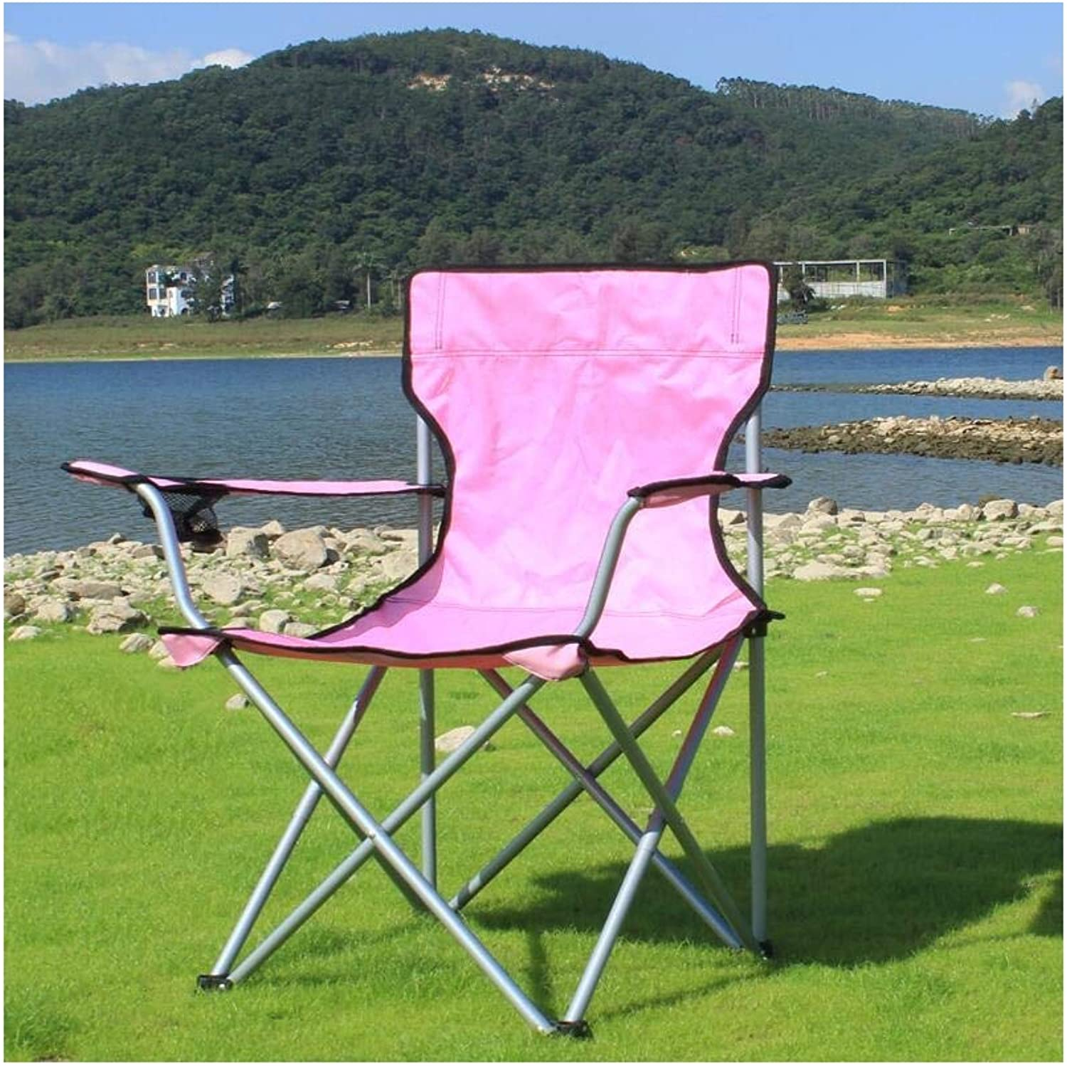 Garden Camping Folding Chair, Outdoor Travel Portable Lightweight Pink Backpacking Chairs Hiker Stool Fishing Seat Picnic Beach