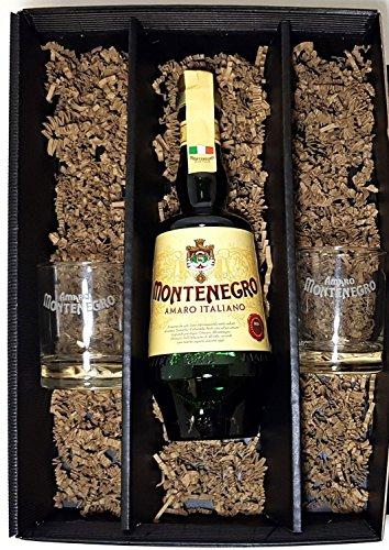 Montenegro Geschenkset - Montenegro Amaro Italiano 0,7l 700ml (23% Vol) + 2x Tumbler Gläser -[Enthält Sulfite]