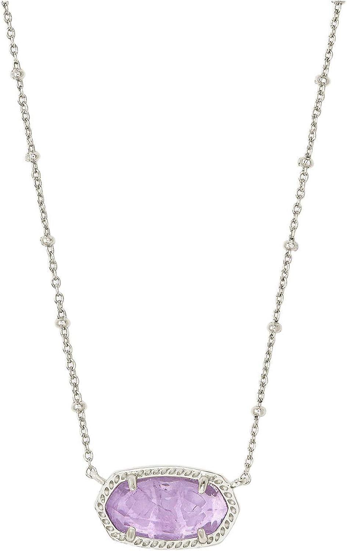Kendra Scott Elisa Satellite Short Necklace Rhodium Purple Amethyst One Size