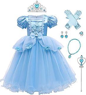 Girls Children/'s Princess Cinderella dress Fancy Dress Gown Blue Kids FREE Crown