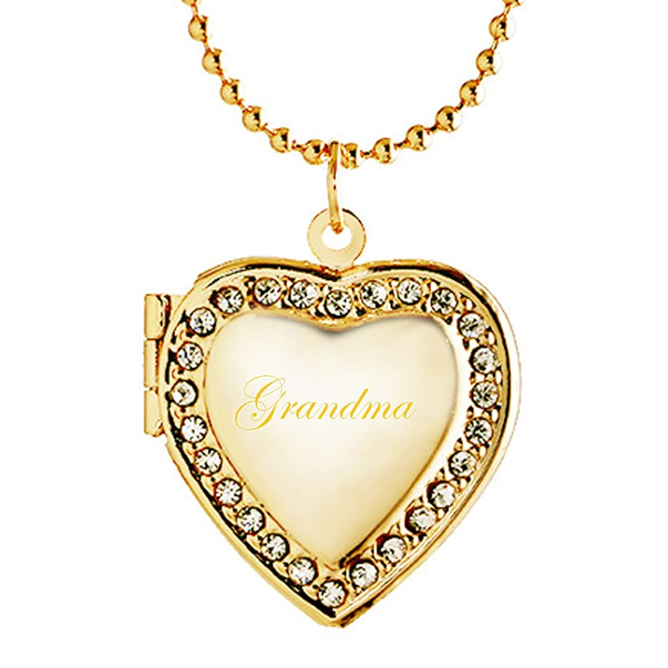Latigerf Grandma Heart Locket Necklace Engraved Pendant Hold Pictures Photo Women