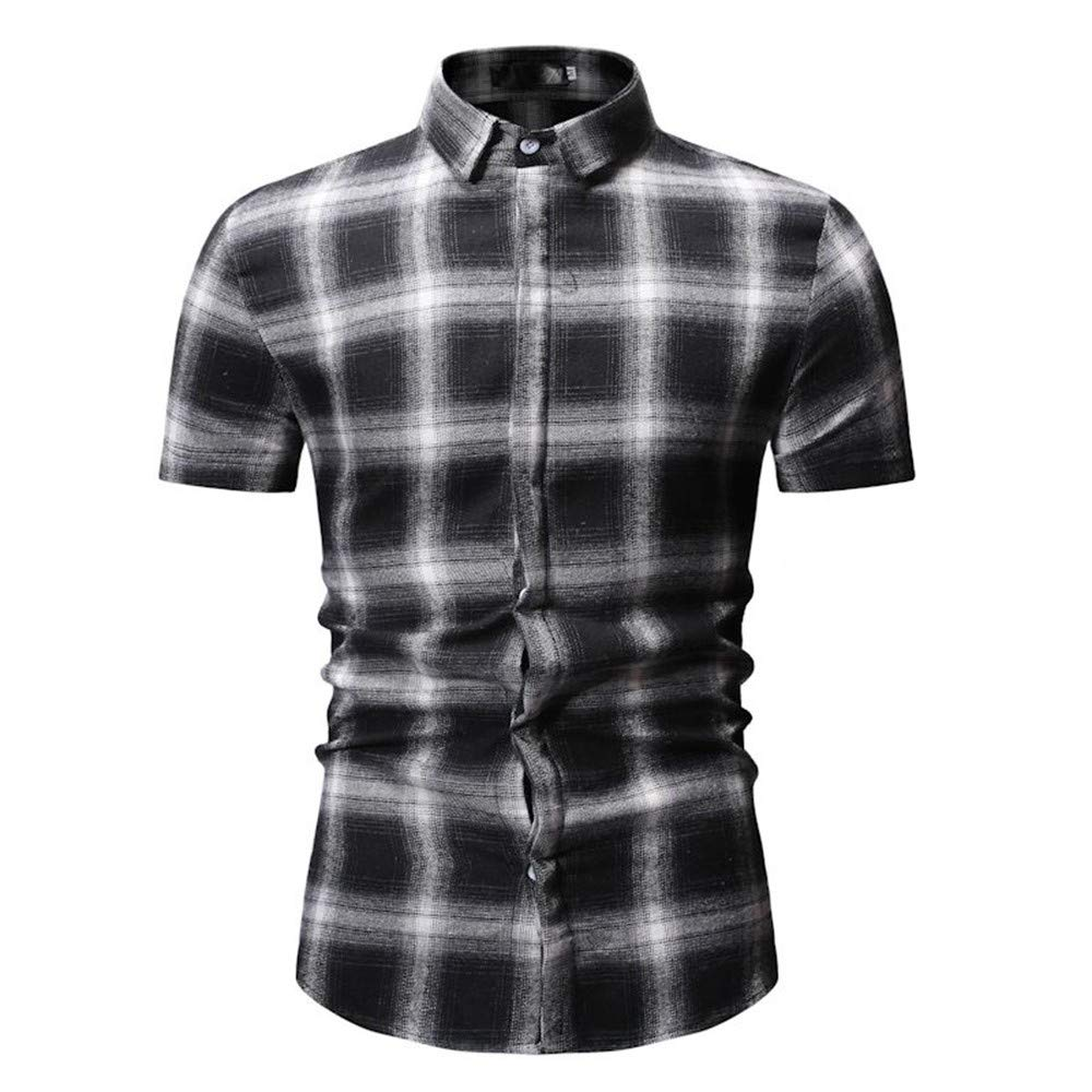NSSY Camisa de Hombre Camisas para Hombre Camisa de Vestir de Manga Corta Camisa a Cuadros de Corte Slim para Hombre, L: Amazon.es: Hogar
