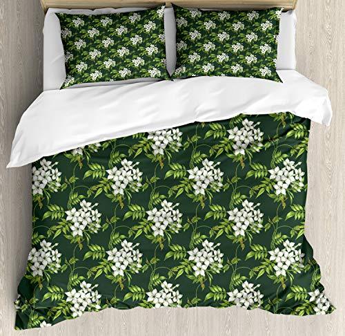 ABAKUHAUS Jasmijn Dekbedovertrekset, planten Bouquet, Decoratieve 3-delige Bedset met 2 Sierslopen, 230 cm x 220 cm, Apple Green Off White