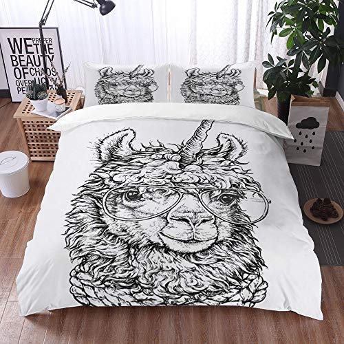 Bedding Sets Duvet Cover Set, Pencil Alpaca Lama Llamacorn Eyeglasses Hipster Drawing Animals Wildlife Funny America Antique Bla,3-Piece Comforter Cover Set 135 x 200 cm +2 Pillowcases 50*80cm
