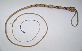 Nylon 6 Foot Long 16 Plait Tan and Brown Well-Weighted Shot Loaded Bullwhip Whips Bull Whip. SKU# NY55