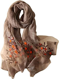 Alysee Women Lovely Silk&Wool Mixed Floral Embroidered Scarf Shawl Wrap