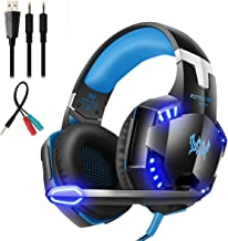 Mengshen Stereo Gaming Headset - with Mic, Volume Control and Cool LED Lights - Compatible with PC, Laptop, Smartphone, PS4 and Xbox One Controller, G2000 (Blue)