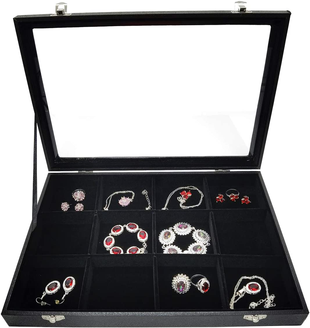 Memphis Mall Lzyee Clear Lid Black Velvet Organizer-Stackable Cash special price Jewelry Jew Box