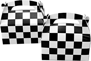 Tytroy 24 PC Checkered Racing Flag Pennant Flag Black White Treat Box Party Favor Goodie Box