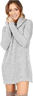 GREFER Sweater Dresses for Women Casual Turtleneck Long Sleeve Straight Jumper Sweaters Mini Dress Petite