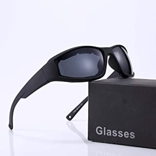 Polarized Motorcycle Sunglasses for Men and Women, Riding Glasses Adjustable UV Protective Windproof Dust-proof Anti Fog Sunglasses- Wraparound Frame - Case, Pouch & Cloth Included (Black Mirror)