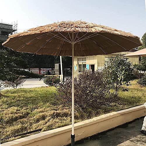JTYX Sombrilla de Paja para Patio de 7 pies / 2,15 m Sombrilla de Paja de Rafia Estilo Hawaiano Hula Sombrilla de Playa UPF 50+, 12 Varillas (sin Base)