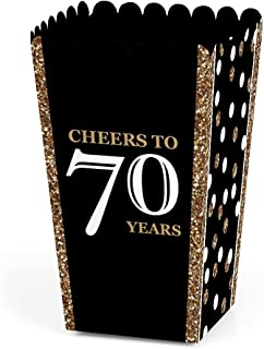 Adult 70th Birthday - Gold - Birthday Party Favor Popcorn Treat Boxes - Set of 12