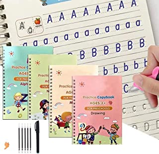 4 Pack Practice Copybook That Can Be Reused, Calligraphy Set for Kids Number Math Drawing Alphabet Handwriting Book,Repeat...