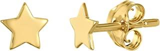 Caterina Jewelry Women's and Girls' Small Star Stud Earrings - Available in 18k Plated Gold and Sterling Silver Rhodium