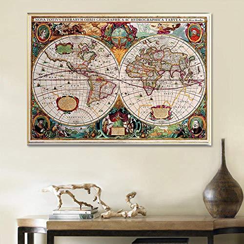 Wereldkaart 17e-eeuwse antieke vintage historische educatieve wereldbolprojectie Cool Wall Art Decor Canvas schilderij Prints Poster Home 60x80cm Geen lijst