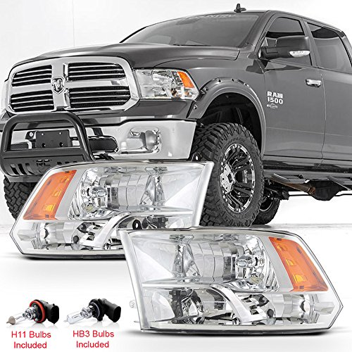 ACANII - For 2009-2018 Dodge Ram 1500 2500 3500 Factory Quad Style Headlights Headlamps Assembly w/Bulbs Set Left+Right