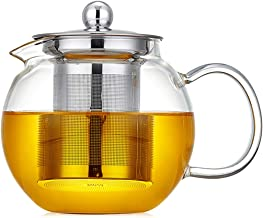 650ml Glass Teapot with Removable Infuser Glass Tea Maker Infusers Holds 1-2 Cups Loose Leaf Iced Blooming or Flowering Tea Filter Stovetop Safe Teapot Kettle