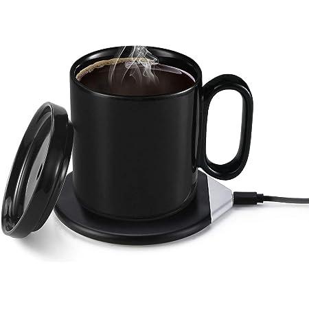 コップ保温器 カップウォーマー マグカップ コーヒーウォーマー qi 充電 2way 55℃ 保温コースター 重力センサー ワイヤレス充電器 オフィス 家庭用 ブラック