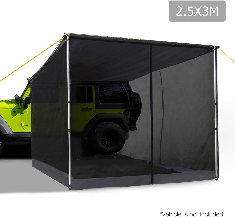 Car Shade Awning & Mesh Screen 2.5 x 3M  Grey