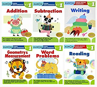 Kumon Grade 1 Complete Set (6 Workbooks) - Addition, Subtraction, Geometry&Measurement, Word Problems, Reading, Writing