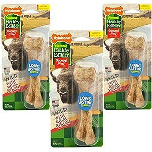 (3 Pack) Nylabone Healthy Edibles Wild Bison Dog Treat Bones – Size Large, 4.9 Oz Each