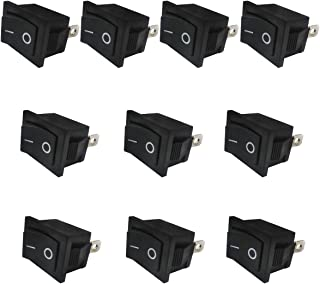 Taiss / 10Pcs AC 250V/6A, 125V/10A,Black ON/Off SPST 2 Pin 2 Position Mini Boat Rocker Switches Car Auto Boat Rocker Toggle Switch Snap (Warranty 1 Years)KCD1-1-101
