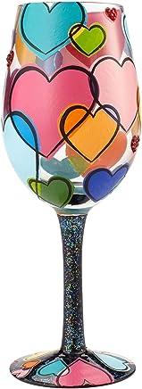 Enesco Lolita Love is All Around Hand Painted Wine Glass 15 oz. Multicolor
