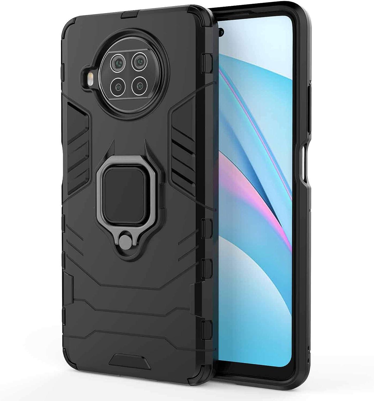 KERUN Funda para Xiaomi Mi 10T Lite 5G Carcasa con 360 Grados Anillo, Híbrida Rugged Armor Absorción Protección Bumper Cover Antigolpes Case con Soporte de Coche Magnético Compatible.Negro