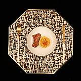 Homcomodar Platzsets Golden Abwaschbar 6er Set Tischsets Hitzebeständigen Platzdeckchen für Küche Speisetisch