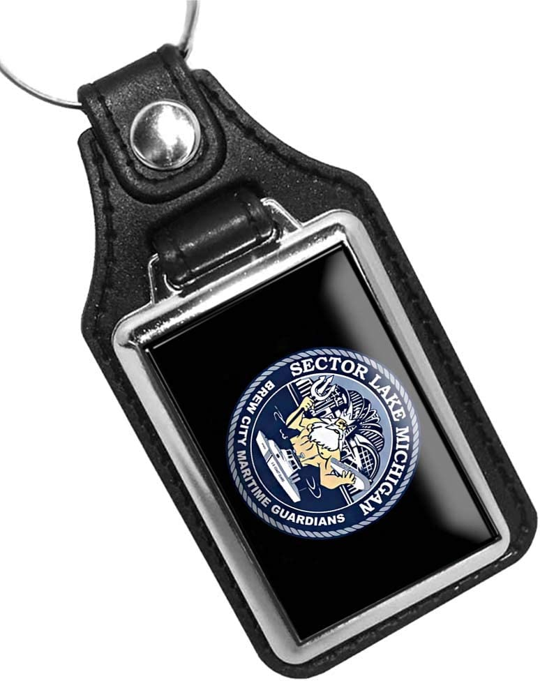 Brotherhood United States Coast Guard Sector Lake Michigan Keychain Key Holder Key Ring for Men Heavy Duty Car Keyring for Men and Women