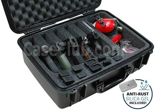 Caja de Aluminio Pistola de casos de vuelo de almacenamiento con cerradura Espuma asegurado cajas de herramientas