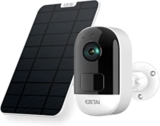 EZETAI 3MP Wireless Solar Security Camera Outdoor, WiFi Smart Home Surveillance Camera with Rechargeable Battery,Night Vis...