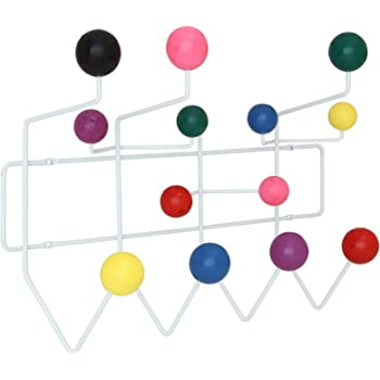 Modway Gumball Mid-Century Wall-Mounted Coat Rack in Multicolored