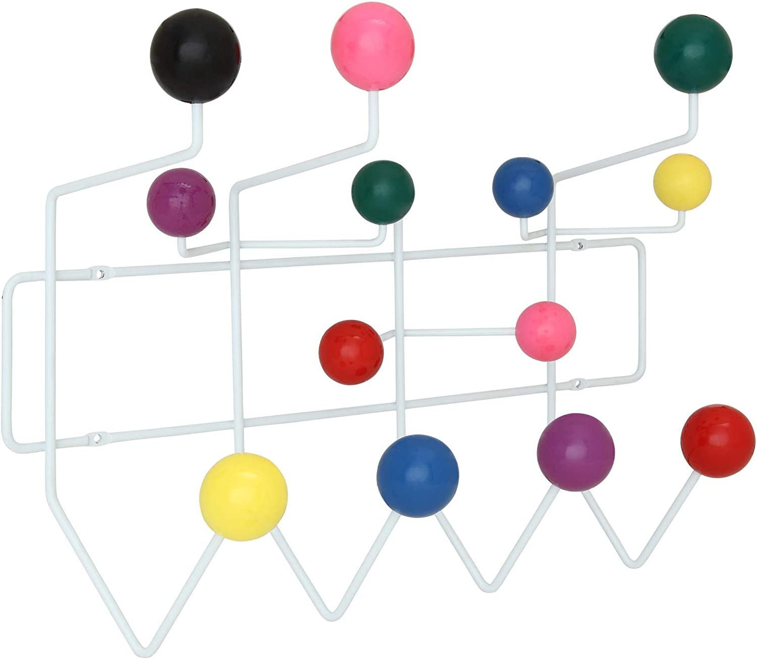 Modway Gumball Mid-Century Wall-Mounted Coat Rack in Multicolord