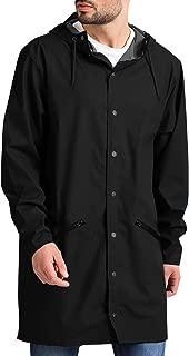 JINIDU Men's Lightweight Waterproof Rain Jacket Packable Outdoor Hooded Long Raincoat