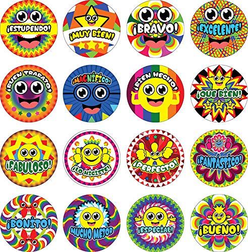 Creanoso Spanish Happy Reward Stickers (10-Sheet) Elegant Design Wall Stickies – Bulk Note Stickers for Graduation, Thanksgiving, Wedding, Bridal Party, Baby Shower, Men & Women