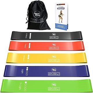 TechStone Set med motståndsband för män och kvinnor, 5-pack olika motståndsnivåer elastiskt band för hemmagym lång träning...