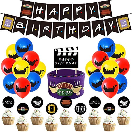 Friends Themed Birthday Decorations Kit, Happy Birthday Banners Confetti Balloons Cake Cupcake Toppers DIY Stickers Friends Theme TV Show Party Favor Supplies