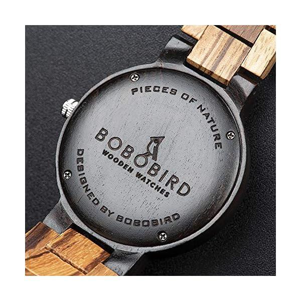 BOBO BIRD Week and Date Multi-Functional Display Men's Zebra Wooden Quartz Watch Lightweight Handmade Casual Wristwatches with Gift Box