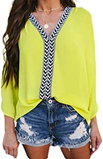 FSSE Women Plus Size Casual V-Neck Chiffon Patchwork Loose T-Shirt Blouse Top